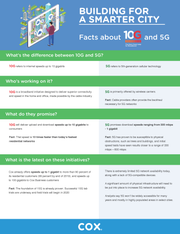 An infographic depicting the differences between 5G cellular networks and 10G broadband connections.