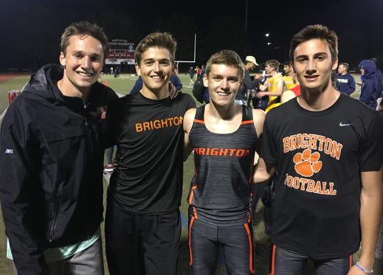 Brighton's 1,600-meter relay team of (from left) Will Jontz, Brenden Edoff, Scott Spaanstra and Matt Jontz placed fourth in the state meet.