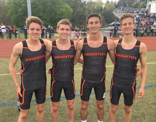 Brighton's 3,200-meter relay team of (from left) Jack Spamer, Scott Spaanstra, Matt Jontz and Nolan McGahan set the school record in the state meet.