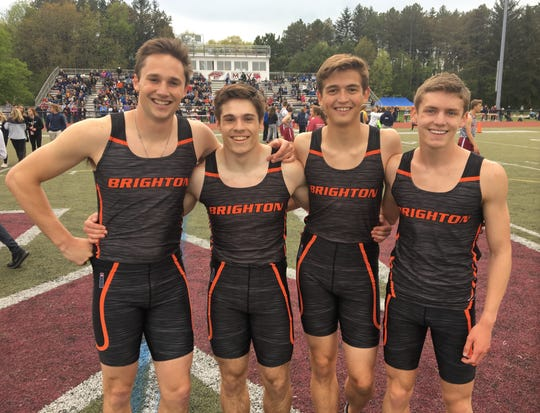 Brighton's 800-meter relay team of (from left) Will Jontz, Chris Seguin, Brenden Edoff and Scott Spaanstra placed 10th in the state meet.