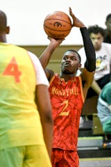 Rocket Watts shoots the ball during a Moneyball Pro-Am game on Thursday.