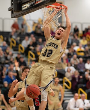 River Valley graduate Danyon Hempy dunks during a game last year while playing for the College of Wooster. Hempy will be making a tour of Brazil in July while playing with a team representing NCAA Division III players.