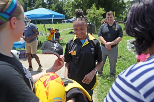 11-year-old Jamiyah Brown said she's excited to travel to Japan to represent DHL at the Rugby World Cup.