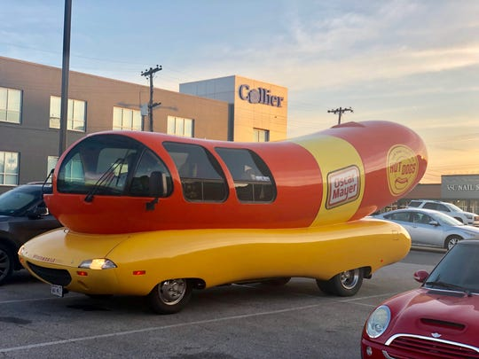 The iconic Oscar Mayer Wienermobile in East Memphis on Thursday night.
