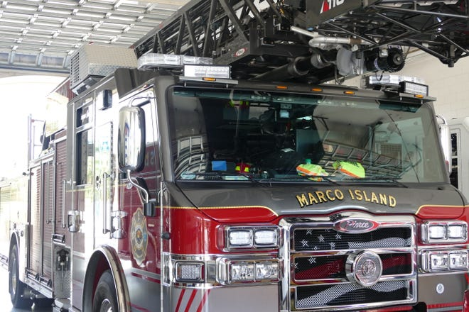 Marco Island Fire-Rescue ladder truck parked at Fire Station 50 on June 7, 2019.