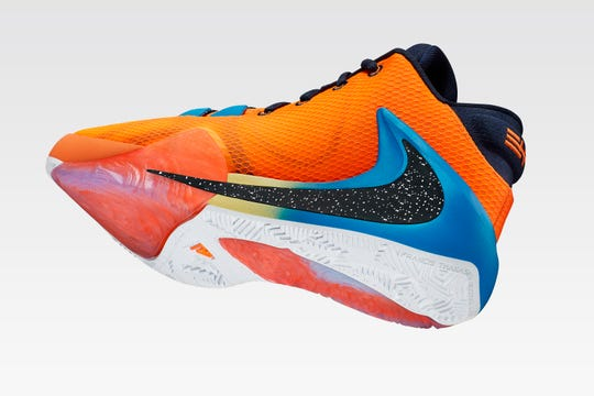 """Giannis Antetokoumpo and Nike released the designs for his new shoe the Nike Zoom Freak 1 on Friday, June 28. The """"All Bros"""" edition go up for sale June 29 along with items from his apparel line with Nike. The orange """"All Bro"""" is available tomorrow. The design is a tribute to Antetokoumpo's brothers."""