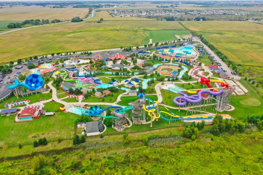 Raging Waves waterpark rises up from the fields that surround it.