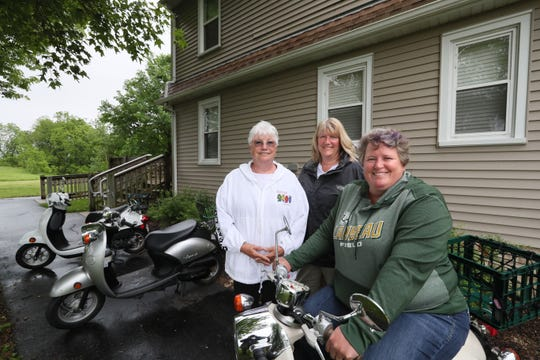 Yahr House was a perfect spot for four Wisconsin women who like to go on scooter adventures. Jane Kabele of Lodi, left, her daughter Angie Teztlaff of Portage and Jenny Karpelenia of Portage. Another friend, Bridgette DeMott had to go home early. The house, which is rented on VRBO.com by the Washington County Parks, has room for 10.