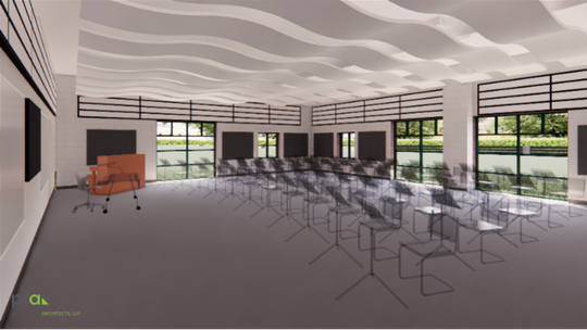 A rendering shows what the new band room at Swallow School would look like.