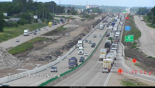 Traffic stalls on I-94 at County K in Mount Pleasant. A crash near Oakwood Avenue closed all northbound lanes Friday afternoon.