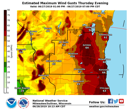 Wind gusts topped 60 mph on Thursday as severe thunderstorms moved across Wisconsin.