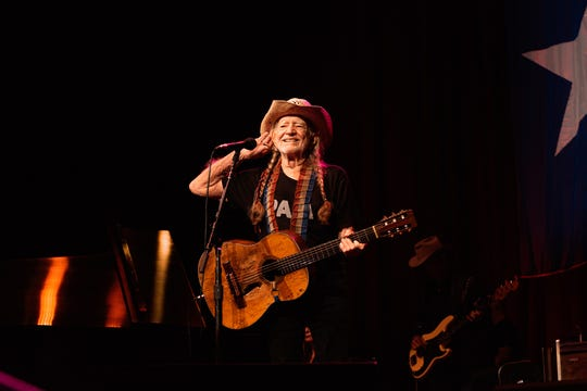 Willie Nelson plays the Outlaw Music Festival at the American Family Insurance Amphitheater on June 27, 2019.