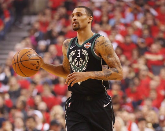 George Hill averaged 11.5 points and shooting 41.7% on three-pointers in 15 playoff games for the Bucks.