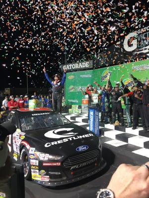 Ty Majeski celebrates his ARCA Racing Series victory Thursday, June 27, 2019, at Chicagoland Speedway.