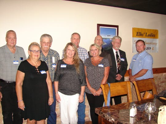 Nine new members were recently welcomed into the Benevolent and Protective Order of Elks in a Rite of Initiation Ceremony conducted by Stuart Friend, Exalted Ruler and President of the Mountain Home Elks on June25.Inducted were: (first row, from left) Karen Treadway, Christina Tighe,Jerldene Butterfield, (second row)Richard Akerman, Jerry Morrison, Robert E. Chisum, Paul Riese, James Archer and Donald Gray. The Benevolent and Protective Order of Elks is one of the largest fraternal organizations in the U.S. with over one million members, in some 1,200 lodges including the Mountain Home Lodge, with more than 800 members in Baxter and surrounding counties. The Elks are well known for their support of youth activities and the veterans of the Armed Forces. For information, call (870) 425-0815.
