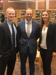 Madison superintendent Mark Schwarz welcomes new high school principal Dave Dreschel and athletic director Andrea Padelsky on June 25.