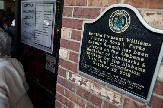 A historical marker commemoration for Bertha Pleasant Williams Library in Montgomery, Ala., on Friday, June 28, 2019. The commemoration was held the day before what would have been Williams' 96th birthday.
