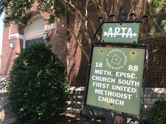 A marker installed by the Rutherford County chapter of the Association for the Preservation of Tennessee Antiquities shows the construction date of the former First United Methodist Church on East College Street in downtown Murfreesboro.
