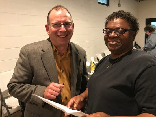 Jeff Charo, left, The Harpeth Hotel accounting and talent manager, scouts for workers Thursday, June 27, 2019, at the Columbia State Community College hospitality program meeting at Natchez Social in Franklin. Annette Odems, who lives on Natchez Street, expressed an interest in entering the program.