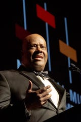 National Museum of African American Music President and CEO H. Beecher Hicks III addresses attendees during the 2019 Legends Gala at Music City Center in Nashville, Tenn., Thursday, June 27, 2019.