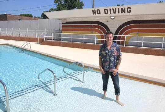Hotelier Lyon Porter gives a tour of his newest venture, The Dive Motel & Swim Club, on Dickerson Pike in Nashville on Friday, June 28, 2019.   A group of investors, including Porter, purchased and renovated the 1950s-era motel.