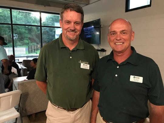 Dr. Dearl Lampley, vice president of Columbia State Community College Williamson Campus, and Ken Davis, hospitality and tourism program director, delivered a presentation about the college's hospitality program at Natchez Social community center in Franklin on Thursday, June 27, 2019.