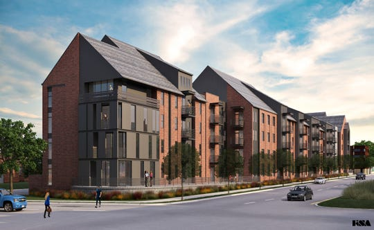 An architectural rendering of Randee Rogers Apartments planned mixed-income housing development at MDHA's Cheatham Place community in Germantown