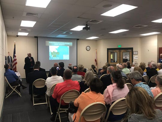 Estero Village Councilor Nick Batos addresses the public at a forum to discuss lime rock mining in Lee County. It was held Thursday, June 27, 2019, at the Estero Community Park Recreation Center.