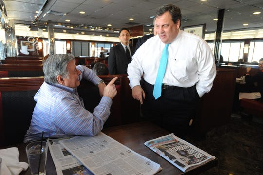 Ex- Governor Chris Christie  at Tops Diner in East Newark  AMY NEWMAN/STAFF PHOTOGRAPHER