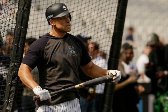 New York Yankees right fielder Aaron Judge watches during batting practice in London, Friday, June 28, 2019. Major League Baseball will make its European debut with the New York Yankees versus Boston Red Sox game at London Stadium this weekend. (AP Photo/Tim Ireland)