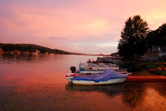 The only 90 degree heat wave of the season ended with a weekend of storms.  When the storms cleared late in the day, only a sunset remained to tempt an evening boat ride on a tranqual Lake Hopatcong.