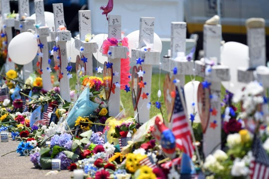 The memorial at building 11 at the Municipal Center for the victims of a mass shooting that killed twelve in Virginia Beach, Va.
