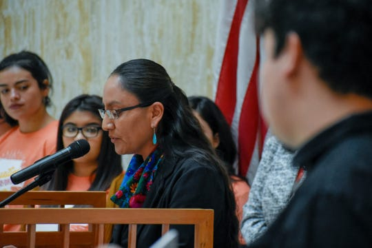 Wilhelmina Yazzie speaks at the Roundhouse at the start of the 2019 legislative session in New Mexico.