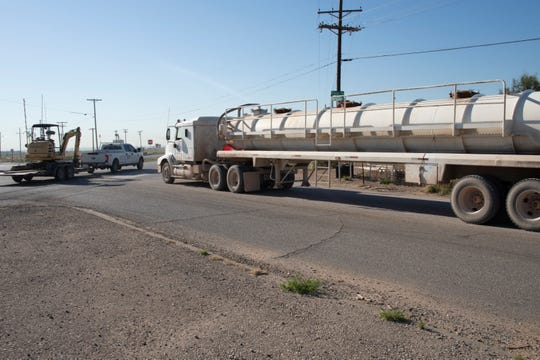 Truck traffic on U.S. 285 (Pecos Highway) near Loving.