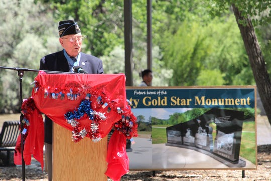 "WW2 Medal of Honor recipient Hershel ""Woody"" Williams speaks during the ground-breaking ceremony on June 27 for SJC Gold Star Families Memorial Monument at All Veterans Memorial Plaza in Animas Park."