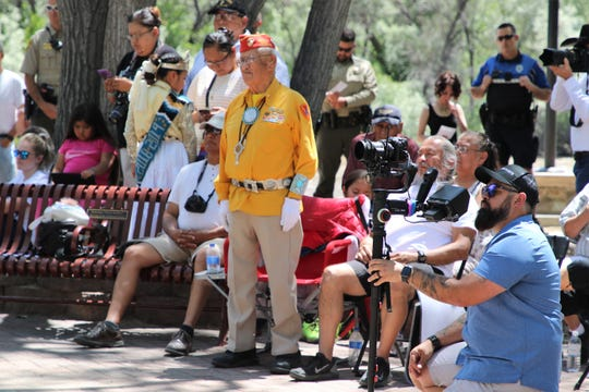 WWII Navajo Code Talker Thomas H. Begay stands while former Governor Susana Martinez speaks about him during the ground-breaking ceremony on June 27 for the SJC Gold Star Families Memorial Monument at All Veterans Memorial Plaza in Animas Park.
