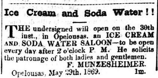 1869 advertisement for what is thought to be the first Ice Cream business in Opelousas.