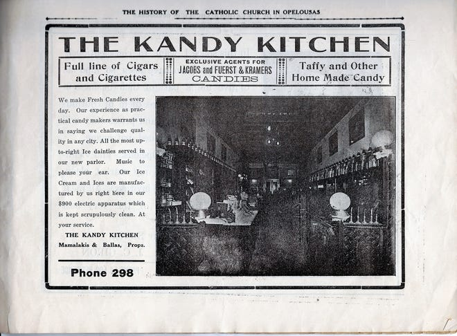 Kandy Kitchen on Landry Street advertisement in Catholic Church History book from 1915.