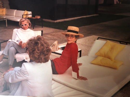 FILE - Nancy Reagan poolside at Sunnylands.