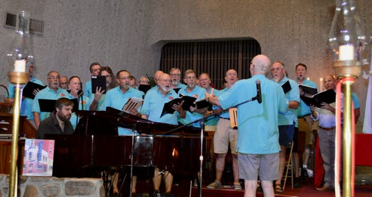 The Palm Springs Gay Men's Chorus performs June 27, 2019, during the United Methodist Church of Palm Springs' Stonewall Commemoration 50th Anniversary service.