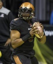 Arizona Rattlers quarterback Drew Powell (9) against the San Diego Strike Force at Talking Stick Resort Arena in Phoenix, Saturday, June 15, 2019.