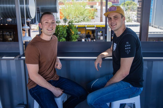 Co-founders Hartley Rodie (left) and Kell Duncan pose for a portrait at the Churchill in downtown Phoenix on June 17, 2019. The Churchill is a micro mall featuring a variety of bars, restaurants and storefronts that might not otherwise have brick-and-mortar locations.
