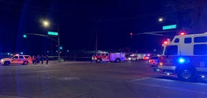 Phoenix police and Fire Department crews at the scene of a crash near 35th Avenue and Durango Street on June 27, 2019.
