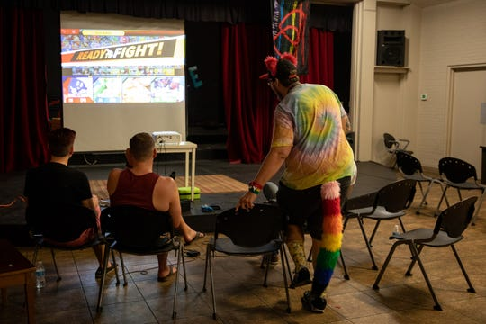 Joe Erickson sits down to play Super Smash Bros at First Union Church in Phoenix on April 20, 2019.
