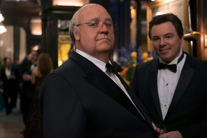 Russell Crowe (left) plays Roger Ailes and Seth MacFarlane is Brian Lewis in Showtime's 'The Loudest Voice.'