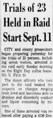 The Arizona Republic story from Wednesday, Aug. 26, 1964, regarding the raid conducted at Eighth Day coffee house at 915 N. First St.