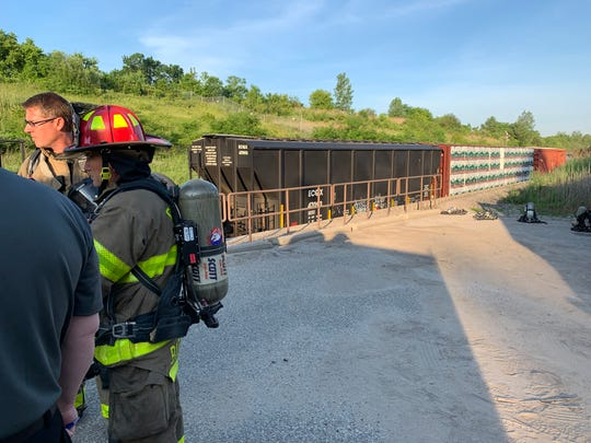 Crews are on the scene of a train derailment in the international tunnel under 10th Street in Port Huron Friday, June 28, 2019.