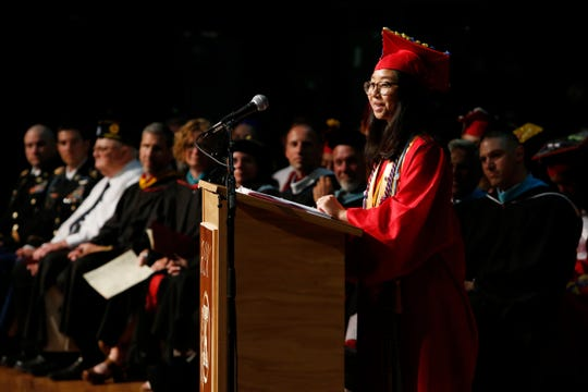 Valedictorian Eileen Liang speaks during the Roy C. Ketcham High School graduation at the Majed J. Nesheiwat Convention Center in the City of Poughkeepsie on June 27, 2019.