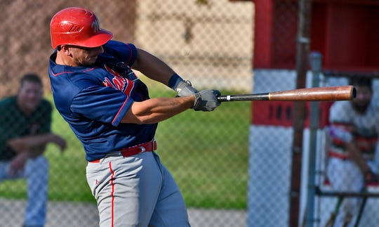 Manchester's Matt Jordan, seen here in a file photo, had three hits and two RBIs in the Indians' 7-5 win over Windsor on Monday.