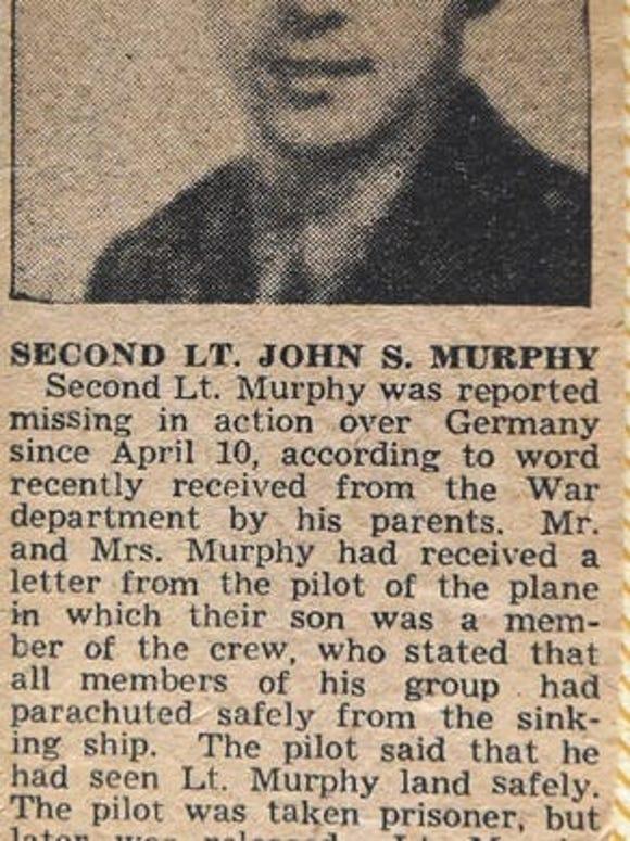 A newspaper clipping tells about John S. Murphy's final hours.